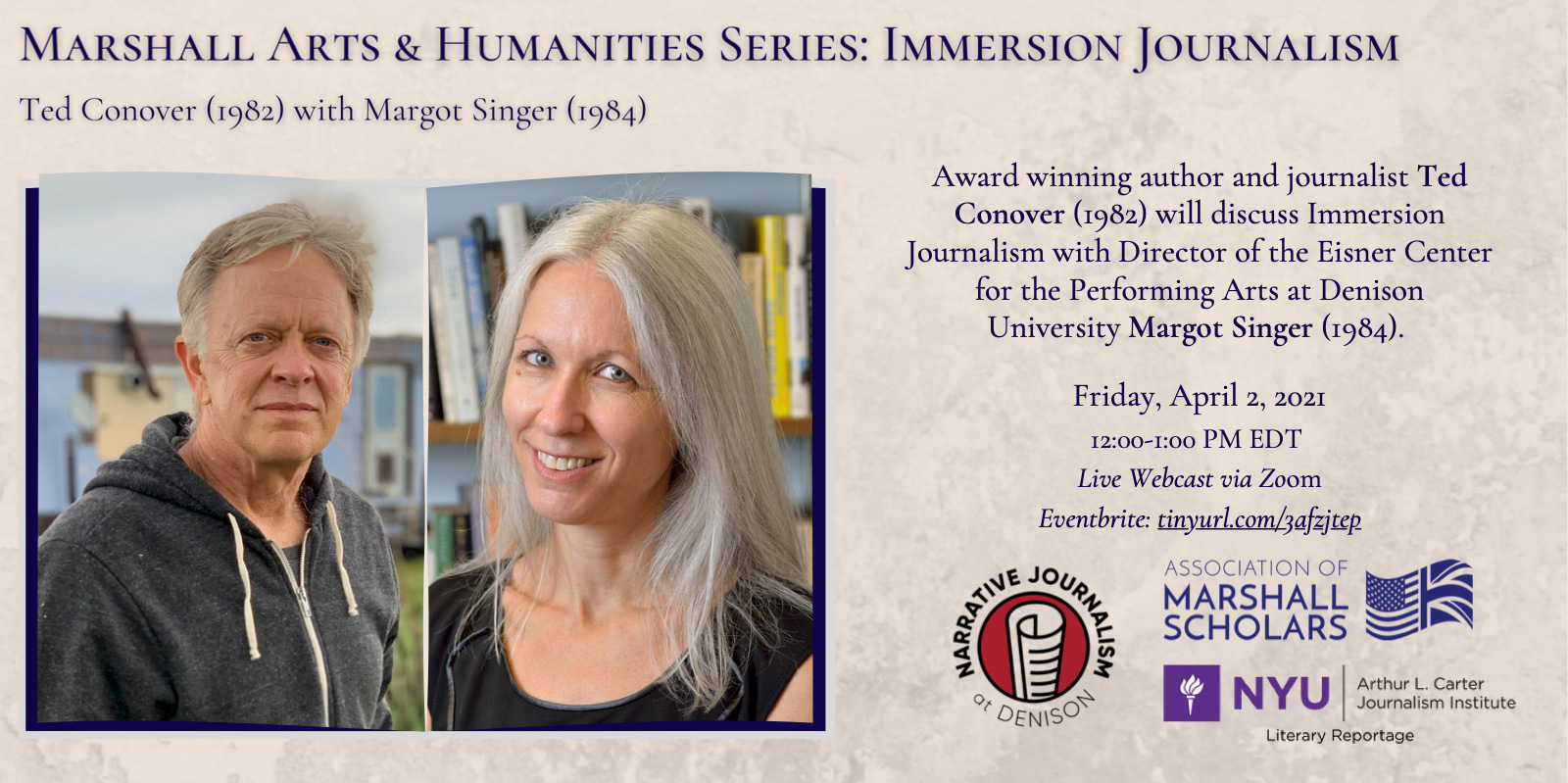 Event Poster - 2021 Spring - Marshall Arts & Humanities Series: Immersion Journalism - See event page for details