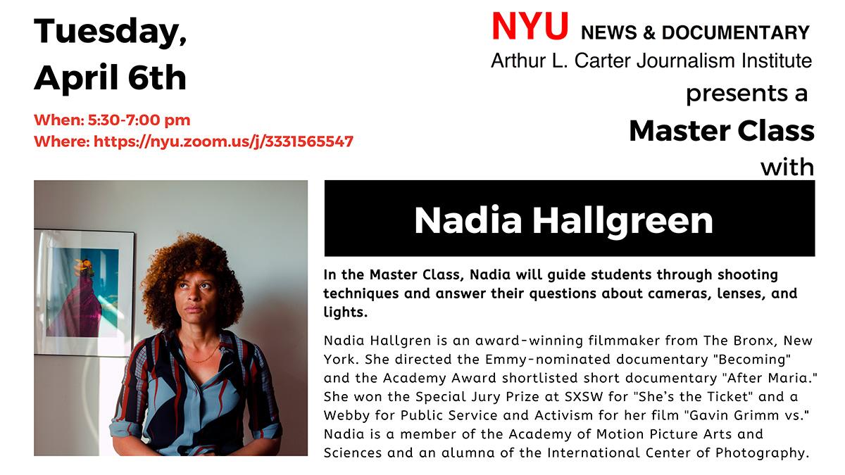 Master Class: Nadia Hallgreen (Read post for more information)