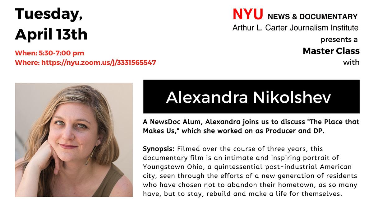 Master Class: Alexandra Nikolchev (Read post for more information)