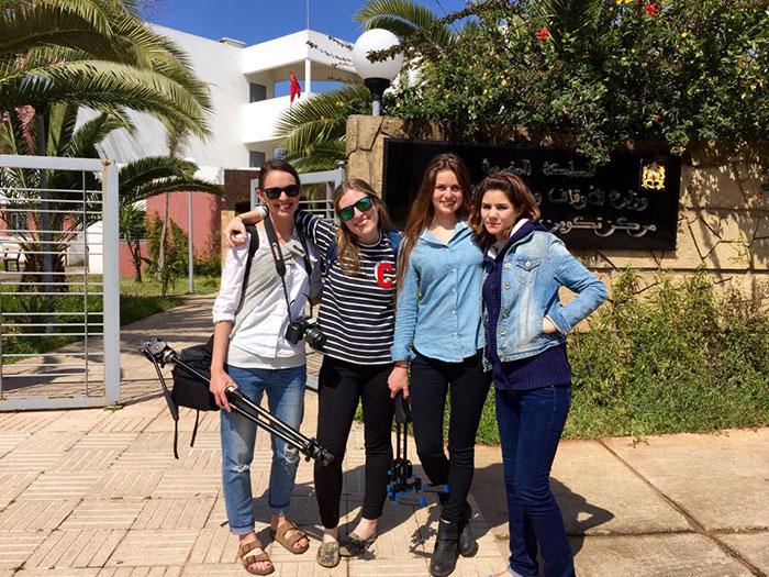 Zoe Lake, Madeline Gressel, Kelsey Doyle and Khadija Boukharfane, outside the Imam Training Center, Rabat, Morocco