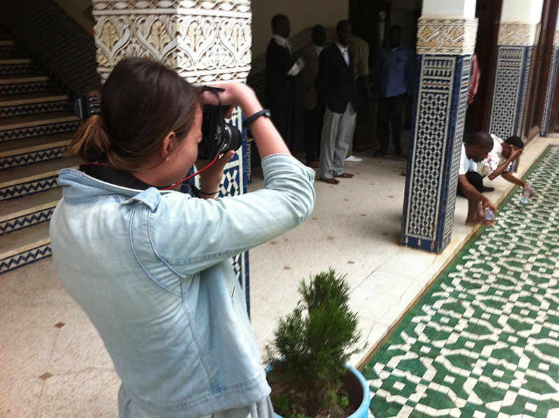 Zoe Lake filming in the Imam Training Center, Rabat, Morocco