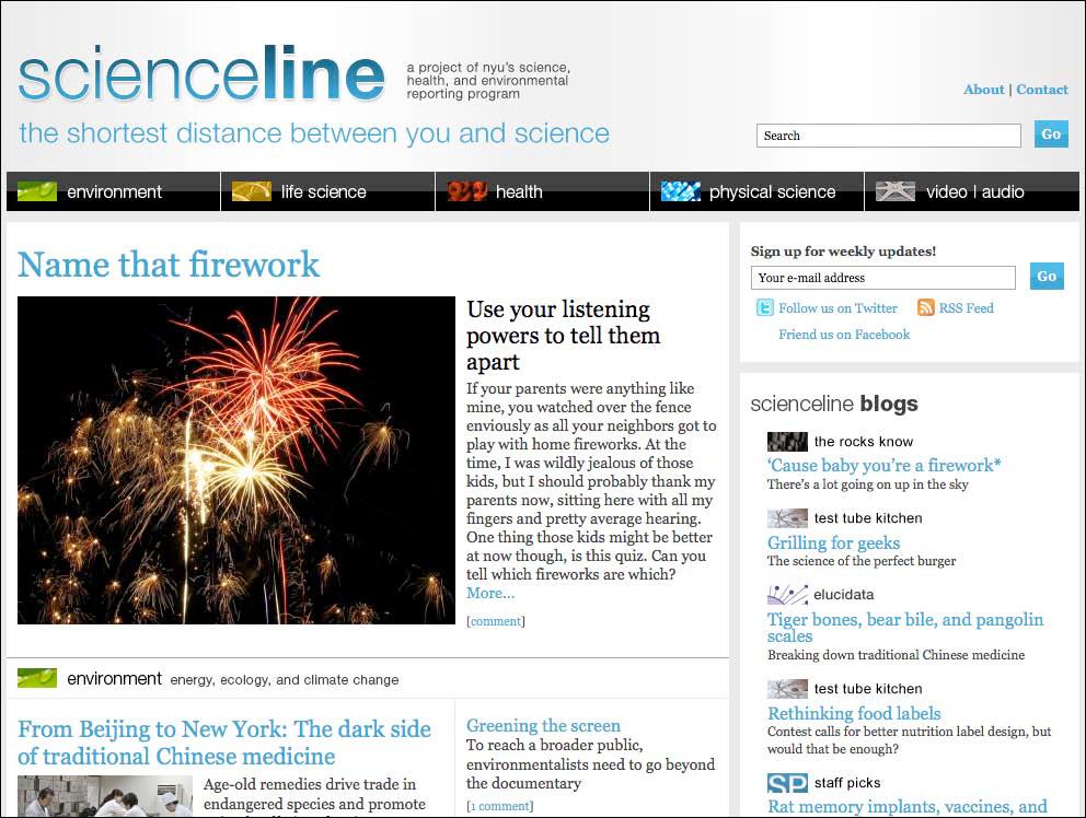 Scienceline Website